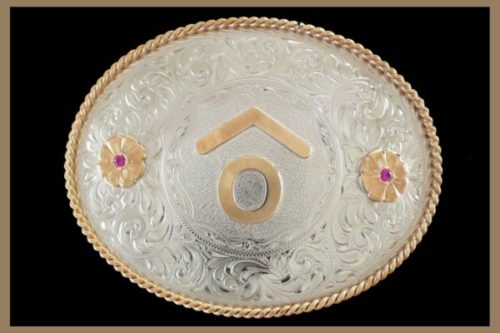 Custom belt buckle oval shaped with roses no letters