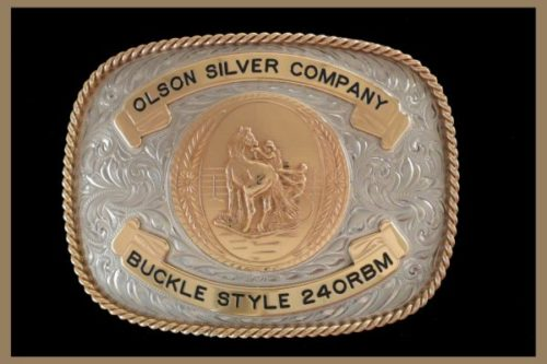 Custom Belt buckle square shaped bronze banners and figure