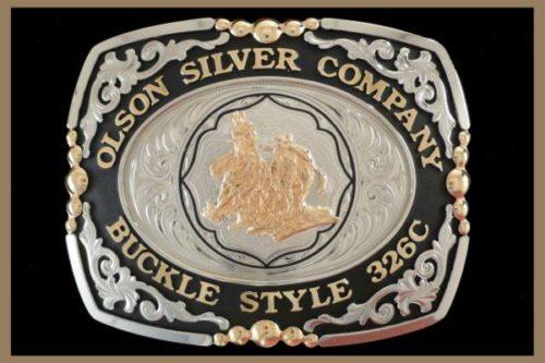 Custom belt Buckle Square shaped nickel scrolls, black accents