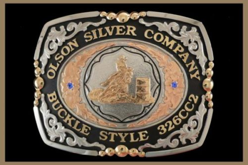 Custom belt Buckle Square shaped nickel and copper scrolls, black accents and stones