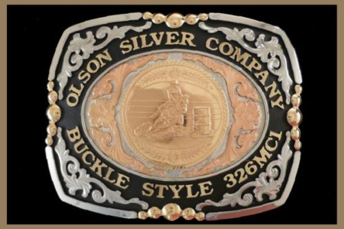 Custom belt Buckle Square shaped nickel and copper scrolls, black accents