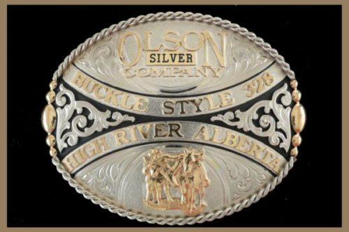 Custom belt buckle nickel scrolls black accents