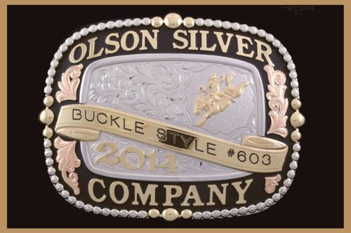 Custom trophy belt buckle with black and copper overlays