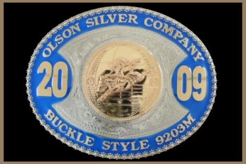 Custom belt buckle with color and large years