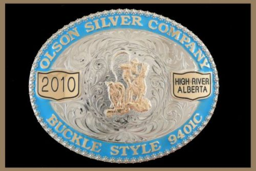 Custom belt buckle with color