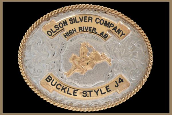 Custom belt buckle oval shaped with bronze banners