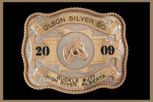 Custom Belt Buckle Scalloped shaped Bronze Accents