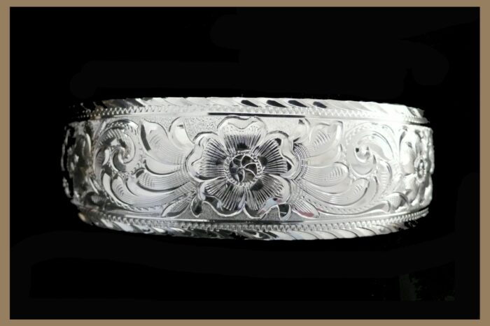 Hand Engraved Western Silver Bracelet
