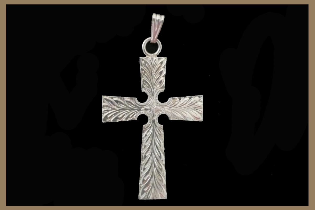 Hand Engraved Silver Cross Pendant