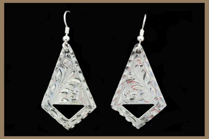 Hand Engraved Silver Earrings