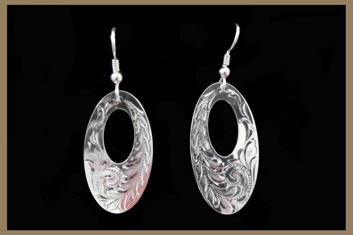 Hand Engraved Western Silver Earrings