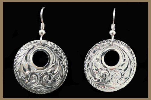 Hand Engraved Western Jewelry Silver Earrings