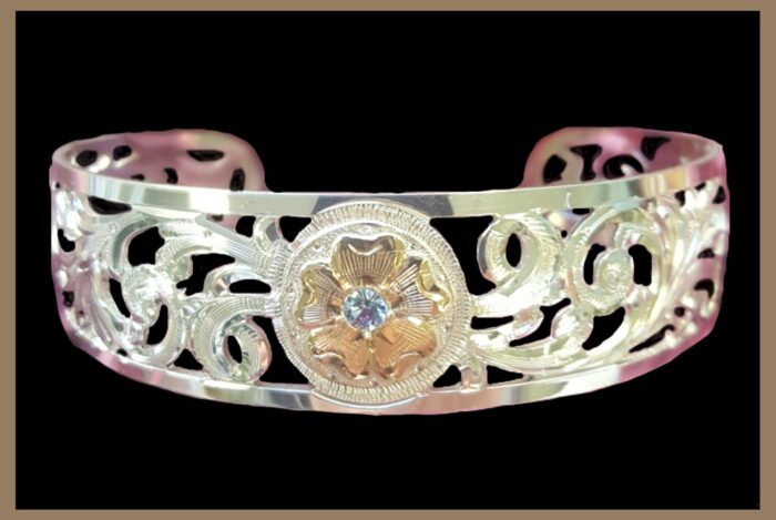Hand Engraved Western Jewelry Sterling Silver Bracelet with stone